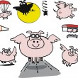 Stock Vector: Flying pigs