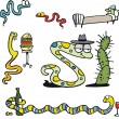 Group of funny snakes — Stock Vector