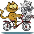 Illustration of cat on a bike — Stock Vector