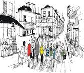Pedestrians crossing the road — Stock Vector