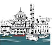 Vector illustration of Istanbul waterfront with boats — Stock Vector