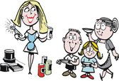 Vector cartoon of housewife with can opener and hungry family — Vetorial Stock