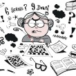 Vector cartoon of worried grandmother trying to solve crossword — Stock Vector #51012141
