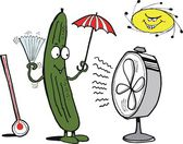 Vector cartoon showing funny cucumber keeping cool. — Stock Vector