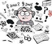 Vector cartoon of worried grandmother trying to solve crossword — Stock Vector