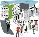 Vector illustration of pedestrians, Noumea New Caledonia street scene. — Stock Vector