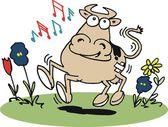 フィールドにハッピー牛 — ストックベクタ