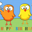 Cartoon chicken birthday thirty - Stock Vector
