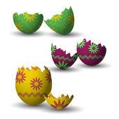 Broken easter eggs collection — Stock Vector