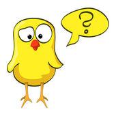 Cartoon chicken doubt — Stock Vector