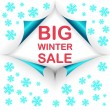 Big winter sale curled corners — Stok Vektör