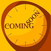 Reloj amarillo próximamente — Vector de stock