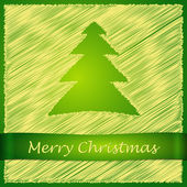 Merry christmas tree yellow front — Stock Vector