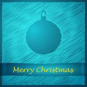 Merry christmas blue ball — Stock Vector