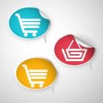 Speech bubble curled cart basket — Stock Vector