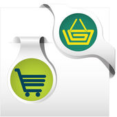 Side bookmark collection cart basket — Stock Vector