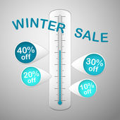 Winter sale thermometer — Stock Vector
