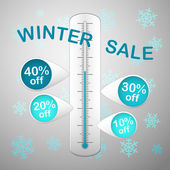 Winter sale thermometer snowflakes — Stock Vector