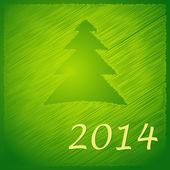 Merry christmas tree green back 2014 — Stock Vector