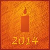 Merry christmas orange candle dark 2014 — Vector de stock