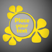 Yellow floral frames text plastic — Vettoriale Stock