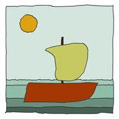 Outdoor boat icon color — Stock Vector