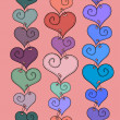 Vector seamless pattern of stitched hearts — Stock Vector
