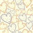 Vector seamless pattern of dotted hearts — Stock Vector
