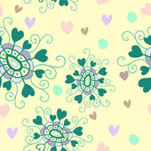 Vector seamless pattern of doodle flowers — ストックベクタ