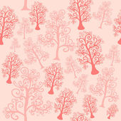 Vector seamless pattern of imaginative trees with curly branches — Stock Vector