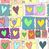 Vektör dikişsiz desen renkli adet kağıt veya bezle üzerine renkli kalpler — Stok Vektör