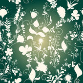 Vector seamless pattern of doodle grass and flowers — Stock Vector