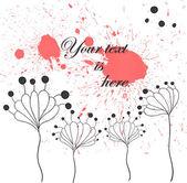 Abstrait fond aquarelle rouge avec des fleurs de fantaisie. illustration de vecteur eps 10. — Vecteur
