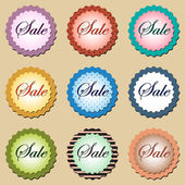 A set of round colored stickers in vector EPS 10 — Stock Vector