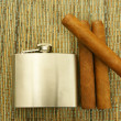 Cigars and hip-flask — Stock Photo