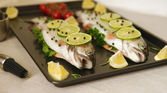 Raw fish. Healthy dinner preparation — Stock Photo