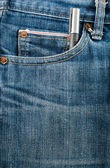 Closed up Blue jean pocket with pen — Stock Photo