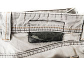 Closed up Gray jean on white isolated — Stock Photo