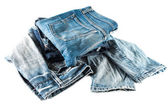 Stack blue jeans isolated — 图库照片