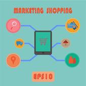Vector Marketing Shopping Process — Stock Vector