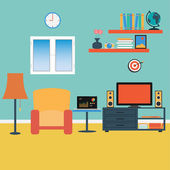 Vector of Living Room .Sofa ,Windows ,Book — Vector de stock