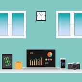 向量的办公室为工作.laptop、 智能手机、 咖啡、 桌子、 平板电脑、 windows 设置 — 图库矢量图片