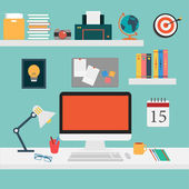Vector of Office set for work .computer,smart phone,coffee,desk,tablet,picture,note — Stock Vector