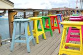 Barstools Outside of Seafood Resturant — Foto Stock