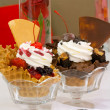 Ice-Cream Sundae With Waffle. — Stock Photo
