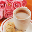 Hot Coffee, Cookie and Pink Flower — Stock Photo