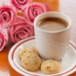 Hot Coffee, Cookie and Pink Flower — Stock Photo #35393355