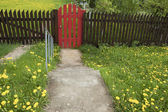 Brown wooden fence and a red gate — Stock Photo