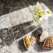 Cookies in the shape of heart on the table — Stock Photo