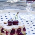 Cherry pie's bars with glass of juice — Stock Photo #28941555